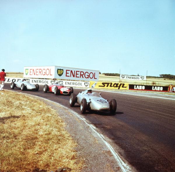 1961 French Grand Prix.Reims, France.30/6-2/7 1961.Jo Bonnier (Porsche 718) leads Giancarlo Baghetti (Ferrari Dino 156) and Dan Gurney (Porsche 718). Baghetti beat Gurney to win on his GP debut.Ref-3/0305.World Copyright - LAT Photographic