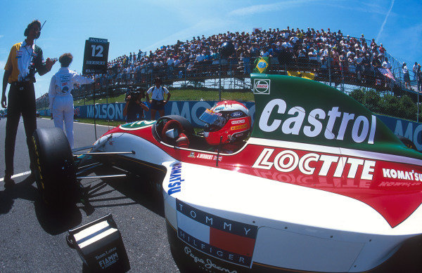 1993 Canadian Grand Prix.Montreal, Quebec, Canada.11-13 June 1993.Johnny Herbert (Lotus 107B Ford) on the grid before the start. He came home in 10th position.Ref-93 CAN 10.World Copyright - LAT Photographic