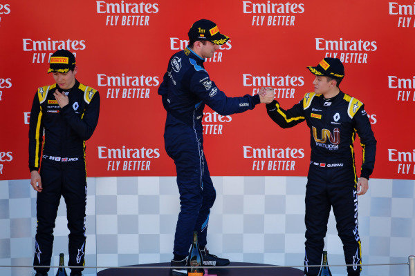 Nicholas Latifi (CAN, DAMS), celebrates on the podium with Jack Aitken (GBR, CAMPOS RACING), and Guanyu Zhou (CHN, UNI VIRTUOSI)