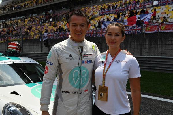 Yuey Tan Yu Hian (SIN) Novu Racing Team on the grid at Porsche Carrera Cup Asia, Shanghai, China, 13-15 April 2018.