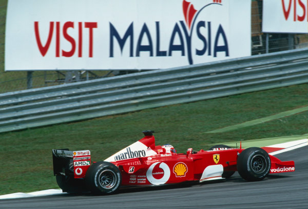 2002 Malaysian Grand Prix.Sepang, Kuala Lumpar, Malaysia. 15-17 March 2002.Rubens Barrichello (Ferrari F2001).Ref-02 MAL 76.World Copyright - Clive Rose/LAT Photographic
