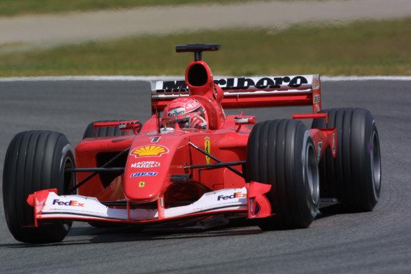 2001 Spanish Grand PrixCatalunya, Barcelona, Spain. 27-29 April 2001.Michael Schumacher (Ferrari F2001) 1st position.World Copyright - LAT Photographicref: 8 9 MB Digital File