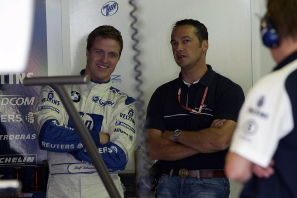 2002 Belgian Grand Prix - PracticeSpa-Francorchamps, Belgium. 30th August 2002.Ralf Schumacher (Williams BMW) in the garage.World Copyright: Steve Etherington/LATref: Digital Image Only