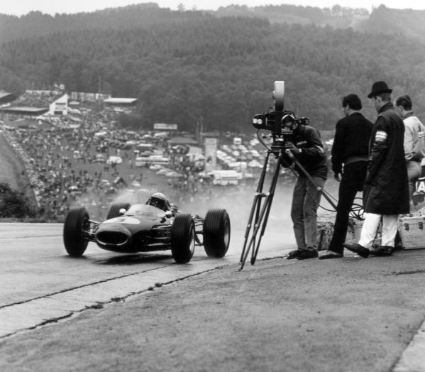 1966 Belgian Grand Prix.Spa-Francorchamps, Belgium. 12 June 1966.Jack Brabham, Brabham BT19-Repco, 4th position, action.World Copyright: LAT PhotographicRef: 34857