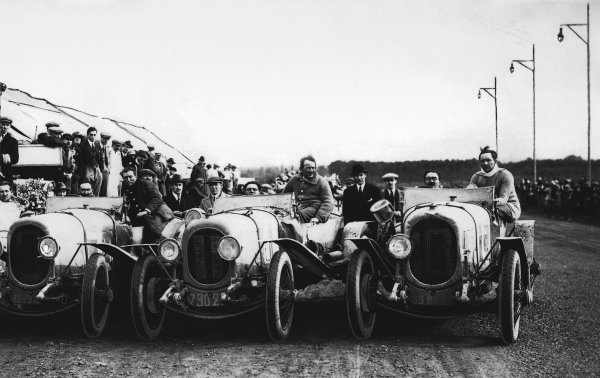 1923 Le Mans 24 Hours.  Le Mans, France. 26th - 27th May 1923. The winning Chenard et Walcker team before the start. L to R: Andre Lagache/Rene Leonard, 1st position, Fernad Bachmann/Raymond Glazmann, 7th position and Raoul Bachmann/Christain Dauvergne, 2nd position, portrait. World Copyright: LAT Photographic. Ref: Autocar Used Pic 1st June 1923 p951.