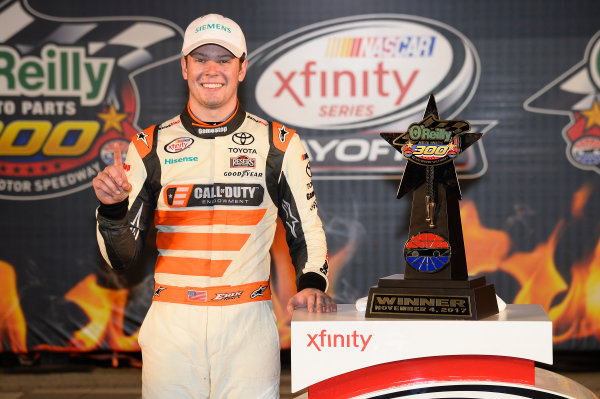 NASCAR XFINITY Series O'Reilly Auto Parts 300 Texas Motor Speedway Fort Worth, TX USA Saturday 4 November 2017 Erik Jones, GameStop Call of Duty WWII Toyota Camry, celebrates in victory Lane. World Copyright: John K Harrelson LAT Images