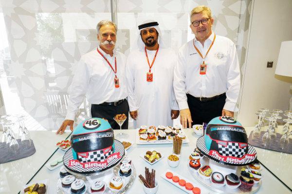 Yas Marina Circuit, Abu Dhabi, United Arab Emirates. Thursday 23 November 2017. Chase Carey, Chairman, Formula One, and Ross Brawn, Managing Director of Motorsports, FOM. World Copyright: Steven Tee/LAT Images  ref: Digital Image _R3I1034