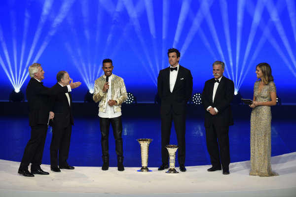 FIA Prize Giving Versailles, France. December 8, 2017. Lewis Hamilton with Toto Wolff, Jean Todt and Chase Carey during the FIA Prize Giving at Versailles. World Copyright: Jean Marie Hervio / DPPI / FIA Image ref: Digital image auto---fia-prize-giving---versailles-2017_38046272145_o