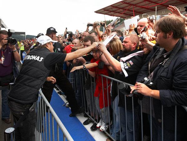 Spa-Francorchamps, Spa, Belgium 25th August 2011. Nico Rosberg, Mercedes GP W02, signs autographs for fans. Portrait. Atmosphere.  World Copyright: Steve Etherington/LAT Photographic ref: Digital Image SNE26427