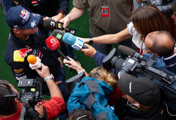 Spa-Francorchamps, Spa, Belgium 25th August 2011. Sebastian Vettel, Red Bull Racing RB7 Renault, answers the medias questions. Portrait. Media.  World Copyright: Steve Etherington/LAT Photographic ref: Digital Image SNE26326