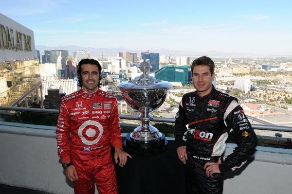 Title protaganists (L to R): Dario Franchitti (GBR) Target Chip Ganassi Racing and Will Power (AUS) Team Penske. IndyCar Series, Rd17, Las Vegas Indy 300, Las Vegas Motor Speedway, Las Vegas, USA, 15-16 October 2011.