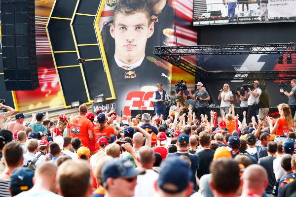 Spa Francorchamps, Belgium.  Saturday 26 August 2017. Stoffel Vandoorne, McLaren, on stage in the F1 Fanzone. World Copyright: Sam Bloxham/LAT Images  ref: Digital Image _J6I9104