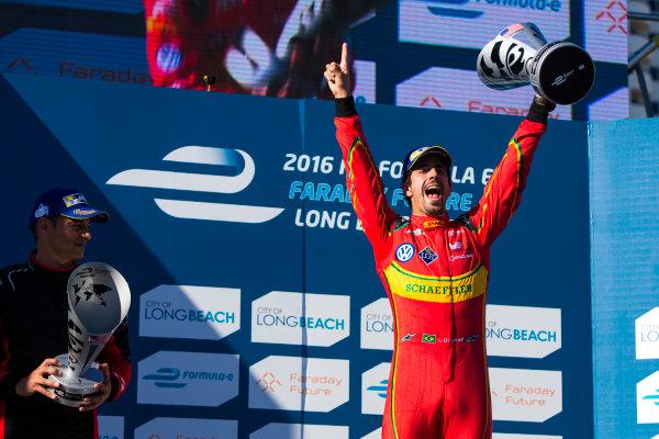 2015/2016 FIA Formula E Championship. Long Beach ePrix, Long Beach, California, United States of America. Sunday 3 April 2016. Lucas Di Grassi (BRA), ABT Audi Sport FE01. Photo: Zak Mauger/LAT/Formula E ref: Digital Image _79P6868