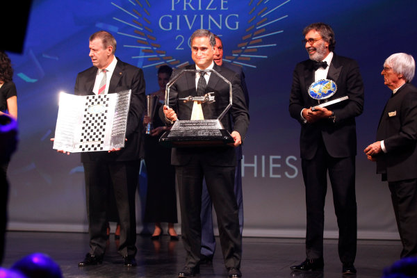 2015 FIA Prize Giving Paris, France Friday 4th December 2015 Bernie Ecclestone and the FOM trophies, portrait  Photo: Copyright Free FOR EDITORIAL USE ONLY. Mandatory Credit: FIA / Jean Michel Le Meur  / DPPI ref: _GO_0139