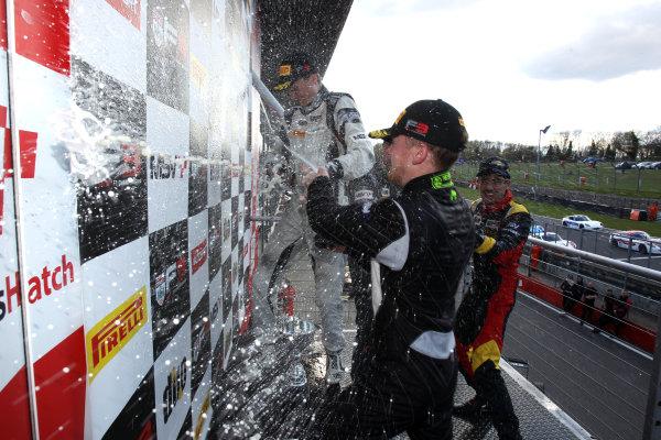 2016 BRDC British Formula 3 Championship, Brands Hatch, Kent. 16th - 17th April 2016. Race 3 Podium. World Copyright: Ebrey / LAT Photographic.