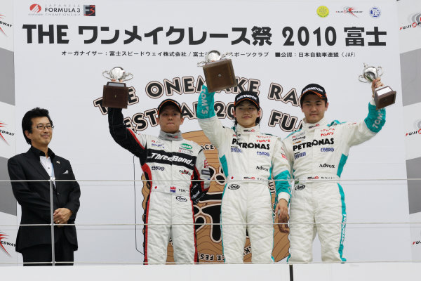 2010 Japanese Formula Three Championship Round 5 & 6 - Fuji Speedway.  12th - 13th June 2010.  Rd.5 Winner Yuji Kunimoto ( #1 PETRONAS TEAM TOM'S ) 2nd position Yuhi Sekiguchi ( #12 ThreeBond Racing ) 3rd position Rafael Suzuki ( #36 PETRONAS TEAM TOM'S ) podium. World Copyright: Yasushi Ishihara/LAT Photographic ref: Digital Image 2010JF3_R5_006
