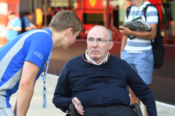 Frank Williams (GBR) Williams Team Owner and Billy Monger (GBR)