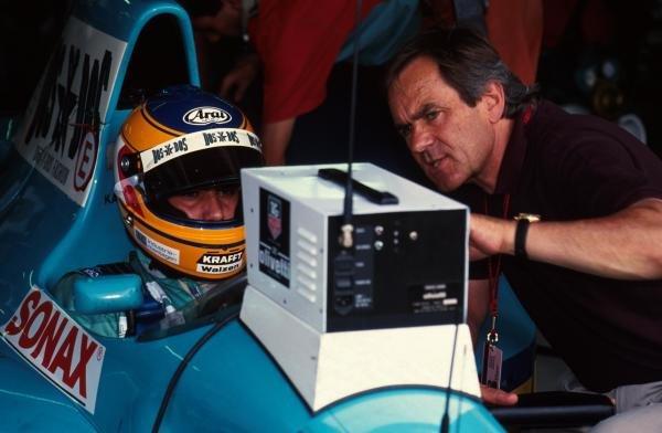 Karl Wendlinger talks with Jochen Neerpasch, right. German Grand Prix, Hockenheim, 26 July 1992