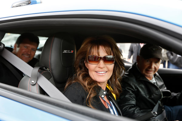 25  May, 2013, Indianapolis, Indiana, USA Todd and Sarah Palin get a pace car ride from 1963 Indy 500 winner Parnelli Jones © 2013, Michael L. Levitt LAT Photo USA.