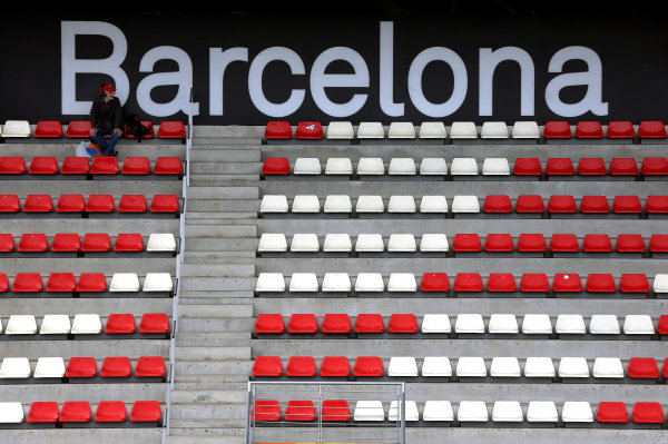 Circuit de Catalunya, Barcelona, Spain 10th May 2013 One bloke in a grandstand. World Copyright: Andy Hone/LAT Photographic ref: Digital Image HONZ4297