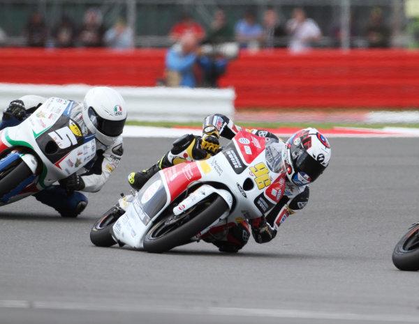 British Grand Prix.  Silverstone, England. 15th-17th June 2012.  Moto3. Louis Rossi, FTR Honda, leads Romano Fenati, FTR Honda.  World Copyright: Kevin Wood/LAT Photographic.  ref: Digital Image IMG_8779a