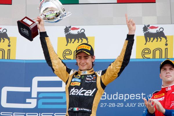 Hungaroring, Budapest, Hungary. 29th July 2012.Sunday Race.Esteban Gutierrez (MEX, Lotus GP) celebrates his victory on the podium. World Copyright: Alastair Staley/GP2 Media Serviceref: Digital Image _O9T4932.jpg