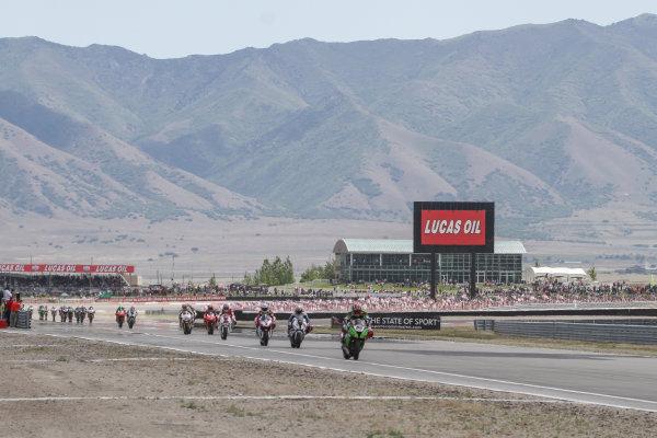 28 May 2012, Miller Motorsports Park, Tooele, Utah USATom Sykes, Kawasaki Racing Team leads the fieldWorld Copyright: Covy Moore/LAT Photographic