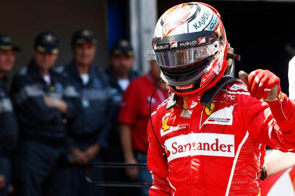 Monte Carlo, Monaco. Saturday 27 May 2017. Kimi Raikkonen, Ferrari, celebrates after takng pole position. World Copyright: Glenn Dunbar/LAT Images ref: Digital Image _X4I9335