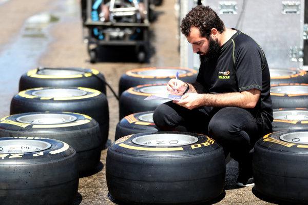 2017 FIA Formula 2 Round 2. Circuit de Catalunya, Barcelona, Spain. Thursday 11 May 2017. Pirelli tyres Photo: Jed Leicester/FIA Formula 2. ref: Digital Image JL2_9824