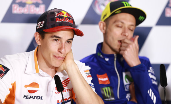 2017 MotoGP Championship - Round 3 Circuit of the Americas, Austin, Texas, USA Thursday 20 April 2017 Marc Marquez, Repsol Honda Team, Valentino Rossi, Yamaha Factory Racing World Copyright: Gold and Goose Photography/LAT Images ref: Digital Image 500-1386