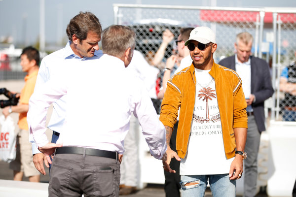 Circuit of the Americas, Austin, Texas, United States of America. Thursday 19 October 2017. Lewis Hamilton, Mercedes AMG, opens the kart track with Bobby Epstein, COTA chairman. World Copyright: Zak Mauger/LAT Images  ref: Digital Image _X0W3318