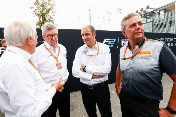 Autodromo Nazionale di Monza, Italy. Thursday 31 August 2017 Charlie Whiting, Ross Brawn, Bruno Michel and Mario Isola at the unveiling of the new 2018 F2 car. Photo: Sam Bloxham/FIA Formula 2 ref: Digital Image _W6I2034