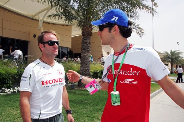 (L to R): Rubens Barrichello (BRA) Honda Racing F1 Team with Bruno Senna (BRA) iSport International. Formula One World Championship, Rd 3, Bahrain Grand Prix, Race, Bahrain International Circuit, Bahrain, Sunday 6 April 2008.