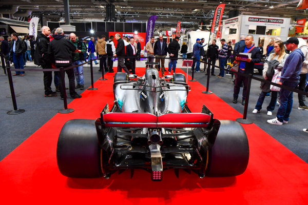 Autosport International Exhibition. National Exhibition Centre, Birmingham, UK. Thursday 11th January 2018. A Mercedes on the F1 Racing Stand.World Copyright: Mark Sutton/Sutton Images/LAT Images Ref: DSC_7607