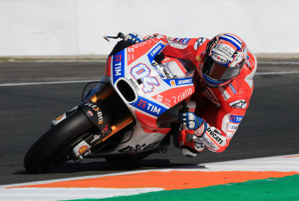 2017 MotoGP Championship - Valencia test, Spain. Tuesday 14 November 2017 Andrea Dovizioso, Ducati Team World Copyright: Gold and Goose / LAT Images ref: Digital Image 706836