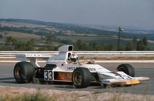 1974 South African Grand Prix. Kyalami, South Africa. 30th March 1974. Mike Hailwood (McLaren M23-Ford), 3rd position, action.  World Copyright: LAT Photographic.