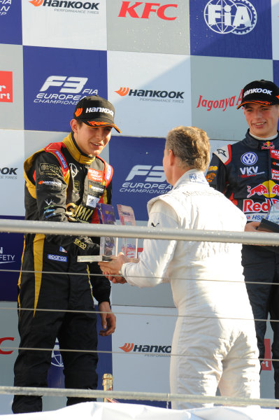 2014 FIA European F3 Championship Round 11 - Hockenheim, Germany 17th - 19th October 2014 podium, Esteban Ocon (FRA) Prema Powerteam Dallara F312 Mercedes, David Coulthard (SCO), Max Verstappen (NED) VAN AMERSFOORT RACING Dallara F312 Volkswagen World Copyright: XPB Images / LAT Photographic  ref: Digital Image 3353809_HiRes