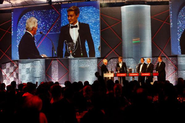 2014 Autosport Awards. Grosvenor House Hotel, Park Lane, London. Sunday 7 December 2014. George Russell wins the 2014 McLaren AUTOSPORT BRDC Award. World Copyright: Alastair Staley/LAT Photographic. ref: Digital Image _R6T9806