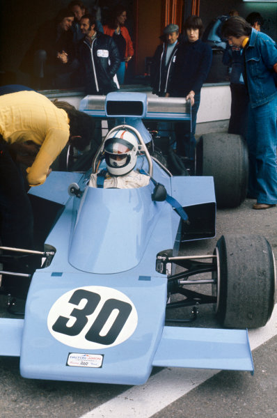 1974 Spanish Grand Prix.  Jarama, Madrid, Spain. 26-28th April 1974.  Chris Amon, Amon AF1 Ford, in the pits.  Ref: 74ESP05. World Copyright: LAT Photographic