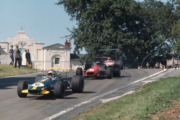 1968 International Gold Cup.  Oulton Park, England. 17th August 1968.  Jack Brabham, Brabham BT26 Repco, leads Jacky Ickx, Ferrari 312, and Jackie Oliver, Lotus 49B Ford.  Ref: 68GC21. World Copyright: LAT Photographic