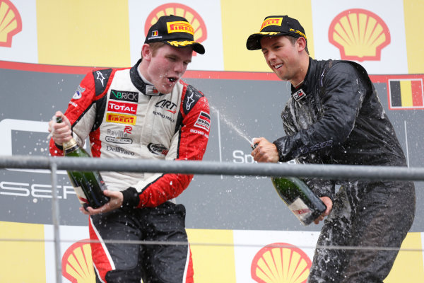 2013 GP3 Series. Round 6.  Spa - Francorchamps, Spa, Belgium. 25th August. Sunday Race. Alexander Sims (GBR, Carlin) celebrates his victory on the podium with Conor Daly (USA, ART Grand Prix), World Copyright: Alastair Staley/GP3 Media Service. ref: Digital Image _R6T8353.jpg