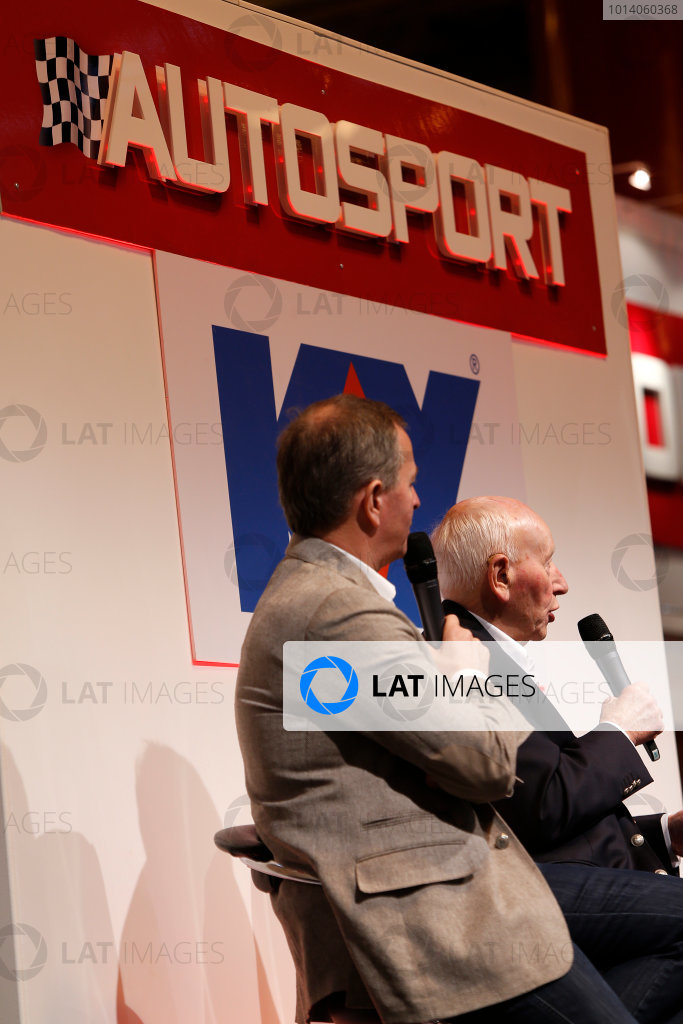Autosport International Show NEC, Birmingham.  Sunday 12 January 2014. John Surtees and Martin Brundle on the stage. World Copyright:Sam Bloxham/LAT Photographic ref: Digital Image _SBL2728