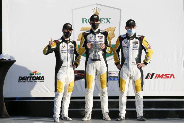 #4 Corvette Racing Corvette C8.R, GTLM: Nick Tandy, Tommy Milner, Alexander Sims, 2nd place, victory lane