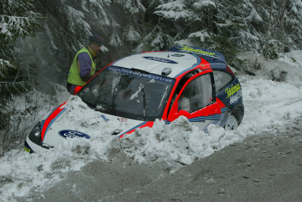 2002 World Rally ChampionshipUddeholm Swedish Rally, 1st-3rd February 2002.Markko Martin crashes out of the shakedown stage and will be unable to start the rally because there is too much damage .Photo: Ralph Hardwick/LAT