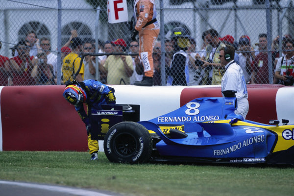 Fernando Alonso, Renault R24 retires with a driveshaft failure.