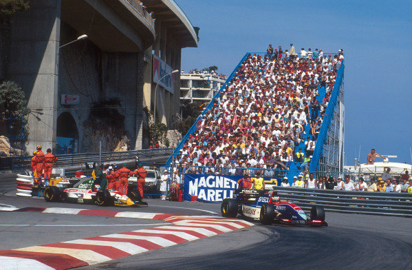 1994 Monaco Grand Prix.Monte Carlo, Monaco.12-15 May 1994.Rubens Barrichello (Jordan 194 Hart) followed by Johnny Herbert (Lotus 107C Mugen-Honda) at the Nouvelle Chicane.Ref-94 MON 11.World Copyright - LAT Photographic