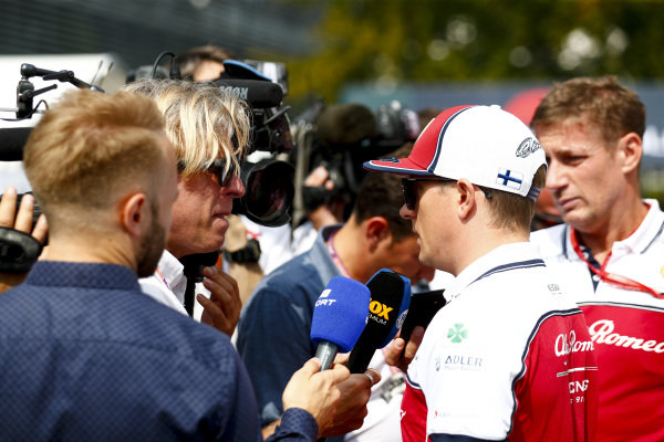 Kimi Raikkonen, Alfa Romeo Racing speaks to the media