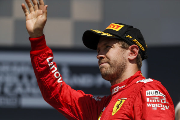 Sebastian Vettel, Ferrari on the podium