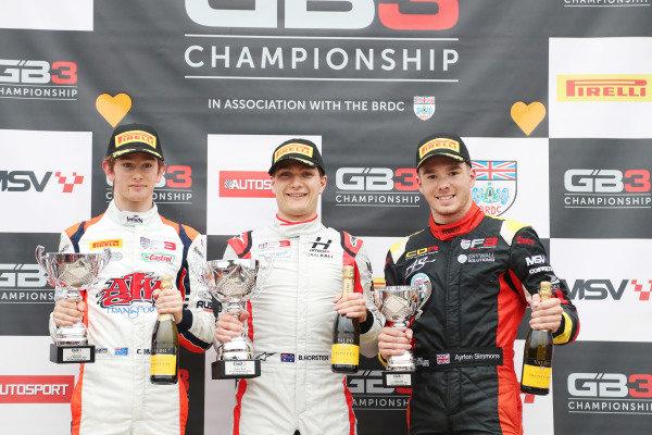 Christian Mansell (AUS) - Carlin BRDC GB3, Bart Horsten (AUS) – Hitech GP BRDC  GB3 and Ayrton Simmons (GBR) - Chris Dittman Racing BRDC GB3