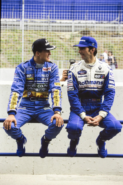 Title contenders Michael Schumacher and Damon Hill.